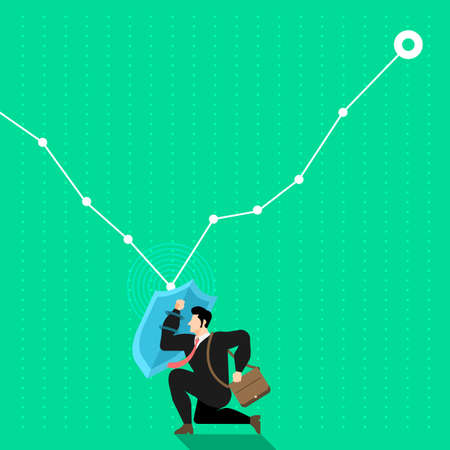 Illustrate concept the businessman use shields to reflect the graph from down to up. Vector flat design.
