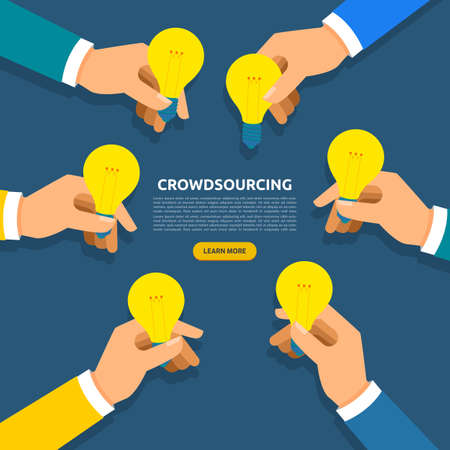 Flat design concept crowdsourcing. Vector illustration. Vettoriali