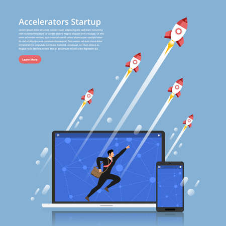 Illustration concept accelerators startup business technology with entrepreneur run up on labtop & Mobile  and rocket rise to top. Flat design vector. 向量圖像