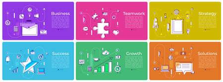 A various banner background set of digital marketing vector illustration