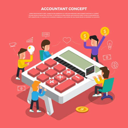 "Flat design concept brainstorm working on desktop icon ""Accountant�. Vector illustrate."