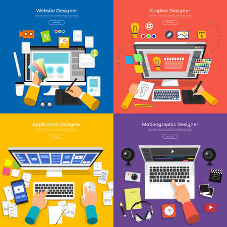 Flat design concept vector set designer of website, graphic, application and motion graphic. Vector illustration.