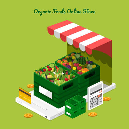Illustration dessign concept healthy foods online store as fresh fruits and fresh vegetables. Vector set banner template.