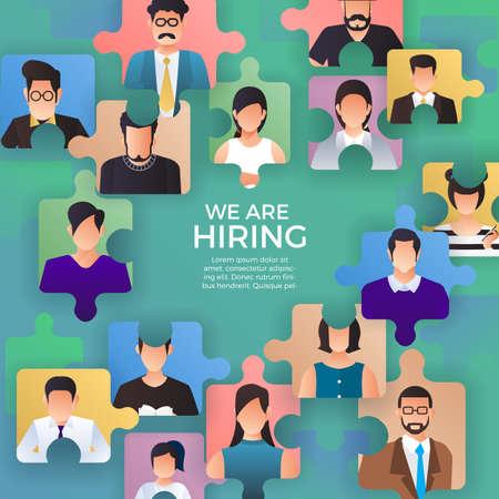 Illustrate design concept The finding employee. HR job seeking. Vector illustrate.