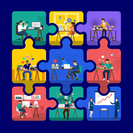 Working team on jigsaw block same work space for employee working desk. Flat design concept. Vector illustrations Ilustrace