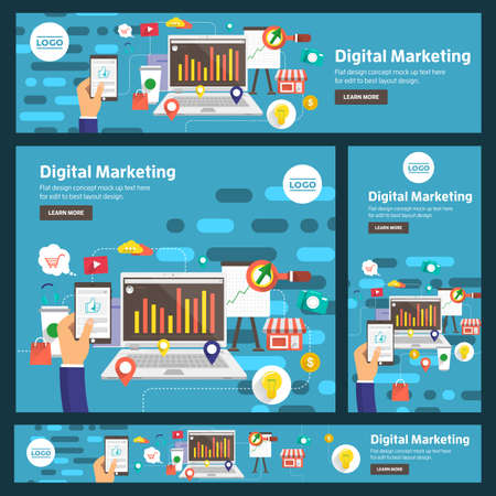 Banner set flat design concept digital marketing. Adaptation to many size banner. Vector illustration. Illustration