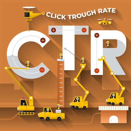 flat design concept building text REACH with construction team. Vector illustrate.