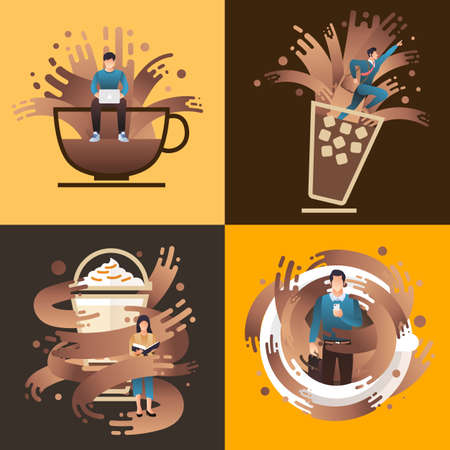 Illustrations concept coffee cup with people to stimulate.