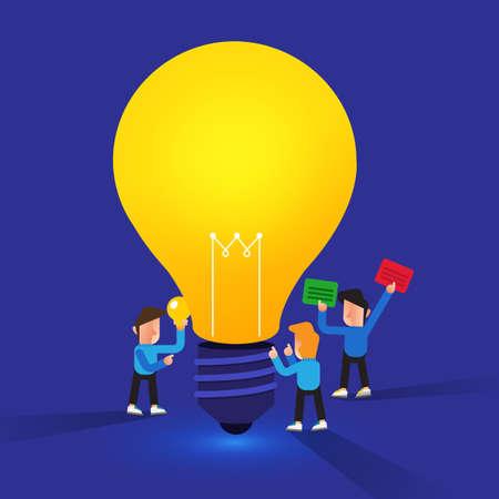 Flat design concept create big idea with light bulb. Vector illustrate.