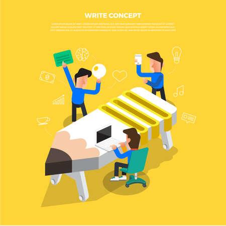 Concept de design plat brainstorming travaillant sur l'icône du bureau. Vecteur illustrent. Banque d'images - 97990737