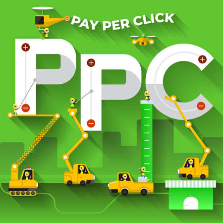 Flat design concept building text PPC with construction team. Vector illustrate. Illustration