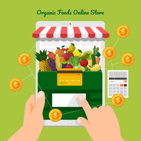Illustration design concept healthy foods online store as fresh fruits and fresh vegetables. Vector set banner template.