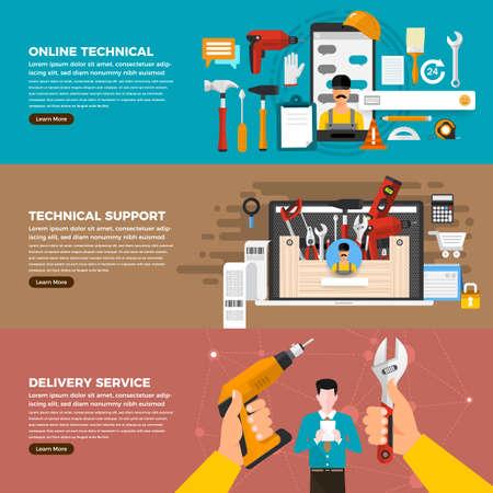 Flat design concept technician repair online service like chat, delevery, online solution. Set vector illustrate. Ilustração