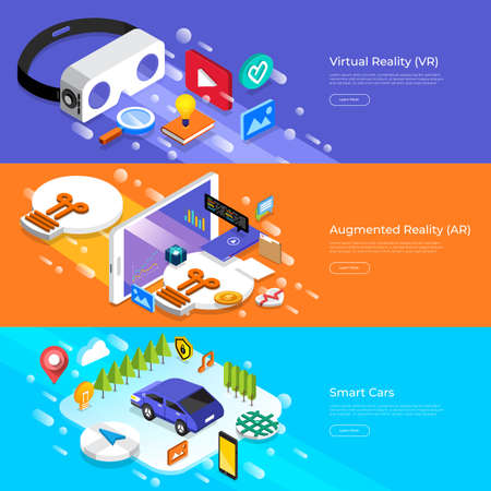 Flat design concept virtual reality, augmented reality and smart cars. Çizim