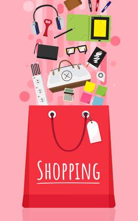 Shopping bag and item fashion gadget clothier.