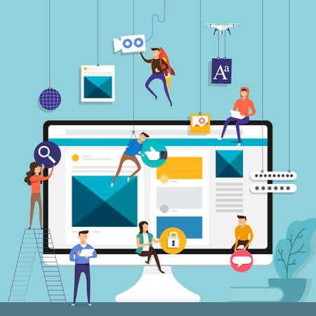 Flat design concept team working for building social media application on Desktop. Vector illustration.