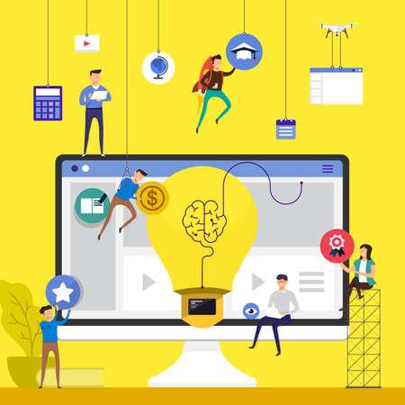 Flaches Konzeptionsteam des Entwurfes, das für das Errichten des Onlinekurs-E-Learnings auf Tischplattenvektorillustration arbeitet. Vektorgrafik