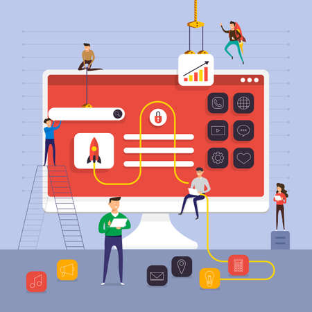 Flat design concept team working for building application on computer desktop vector illustration.