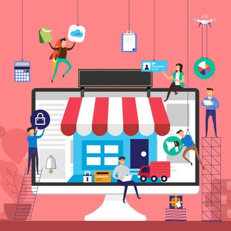 Flat design concept team working for online store e-commerce technology on desktop vector illustration. Illustration