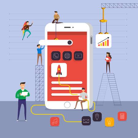 Flat design concept team working for building application on mobile vector illustration.
