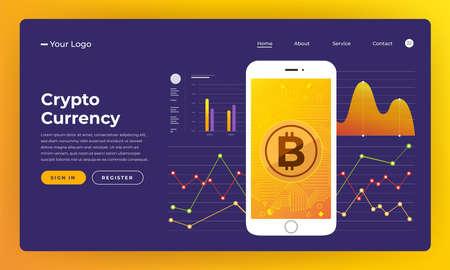 Mock-up design website flat design concept blockchain and cryptocurrency.  Vector illustration. 일러스트