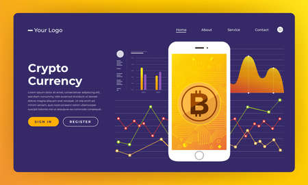 Mock-up design website flat design concept blockchain and cryptocurrency.  Vector illustration.  イラスト・ベクター素材