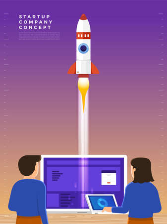 Businessman launches rocket into the sky, employee performs the start-up of the spacecraft. Business startup concept. Vector illustrations.