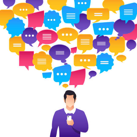 Flat design concept peoples talk with balloon message bubble. Vector illustrate. Illustration
