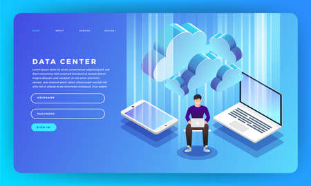 Mock-up design website flat design concept server hosting information. Vector illustration. Stock Illustratie