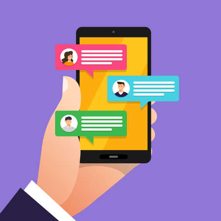 Flat design concept message and chat. Present by icon text message. Vector illustrate Фото со стока - 102336280