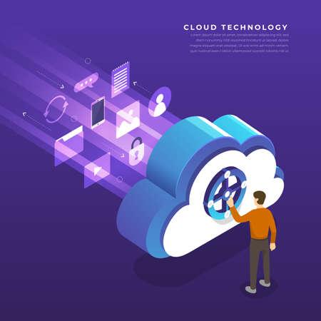 Flat design concept cloud computing technology users network configuration isometric. Vector illustration. 일러스트