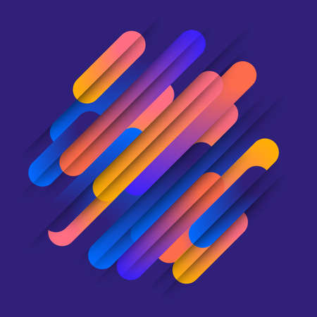 Various colored rounded shapes lines in diagonal rhythm. Vector illustration of dynamic composition. Motion graphic geometric element.
