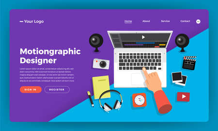 Mock-up design website flat design concept motiongraphic & video effect designer.  Vector illustration.