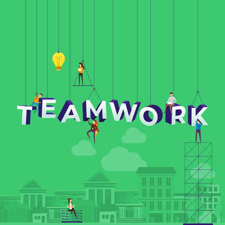 Flat design concept small people working typography word teamwork. Vector illustrate.