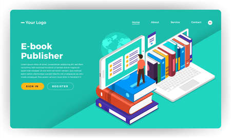 Mock-up design website flat design concept E-book, e-learning, digital education.  Vector illustration. Çizim
