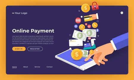 Mock-up design website flat design concept online payment.  Vector illustration.