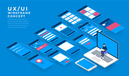 UX UI Flowchart. Mock-ups mobile application concept isometric flat design. Vector illustration.