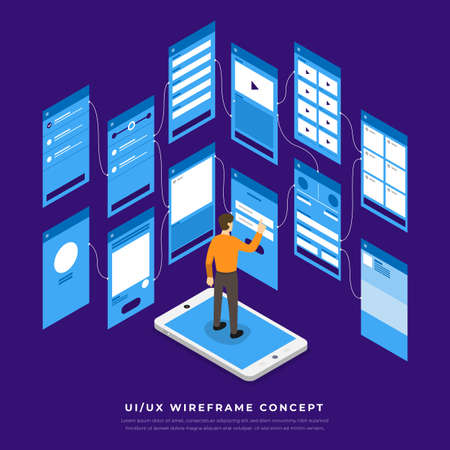 UX UI Flowchart. Mock-ups  mobile application concept isometric flat design. Vector illustration. Ilustracja