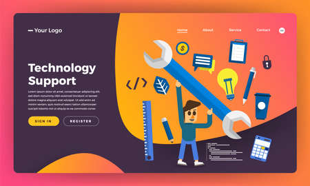 Mock-up design website flat design concept IT technology suport. Vector illustration.