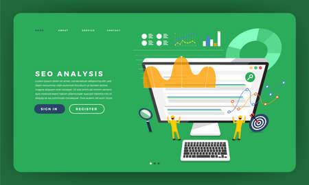 Mock-up design website flat design concept SEO analysis with graph and chart on team developer building a rank website on desktop. Vector illustration. Illustration