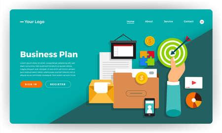 Mock-up design website flat design concept digital marketing. Online business strategic plan. Vector illustration.