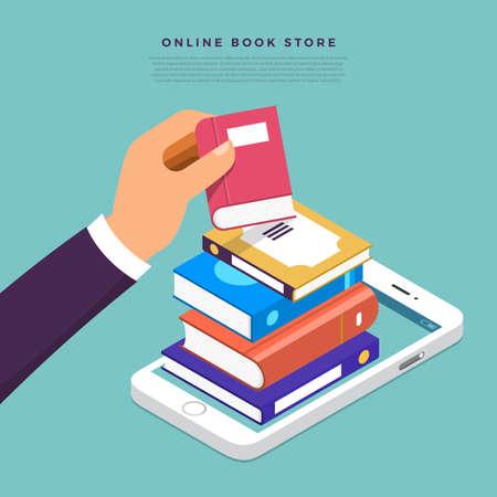 Tienda de libros online de concepto de diseño plano. Libro de selección manual desde el dispositivo de Internet. Vector ilustrar.