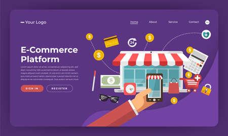 Mock-up design website flat design concept digital marketing. E-Commerce Platform. Vector illustration. Ilustração