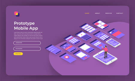 Mock-up design website flat design concept landing page prototype mobile application wireframe screen on smartphone. Vector illustration. Archivio Fotografico - 102336952