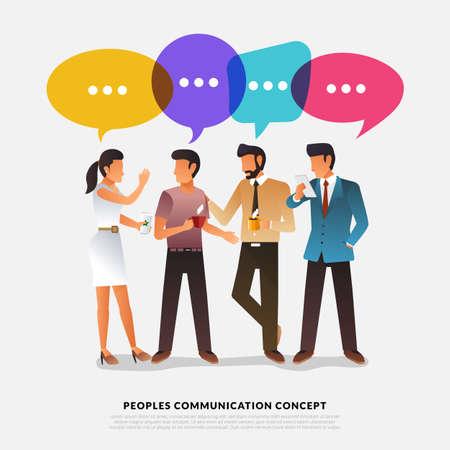 Flat design concept peoples talk with balloon message bubble. Vector illustrate. 일러스트