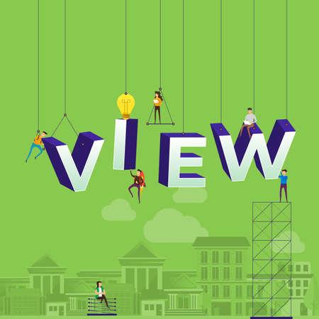 Flat design concept vlog. Team develop channel video online. Vector illustrate. Standard-Bild - 102336436