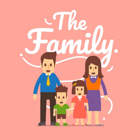 flat design concept family have a father, motherand children. Vector illustrations.