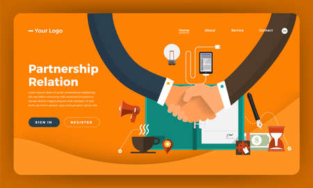 Mock-up design website flat design concept digital marketing. Partnership Relation.  Vector illustration.