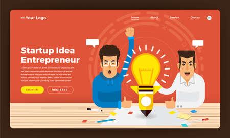 Mock-up design website flat design concept startup idea business present by entrepreneur. Vector illustration. Illustration