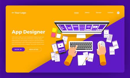 Mock-up design website flat design concept app designer create and development wireframe mobile application.  Vector illustration.